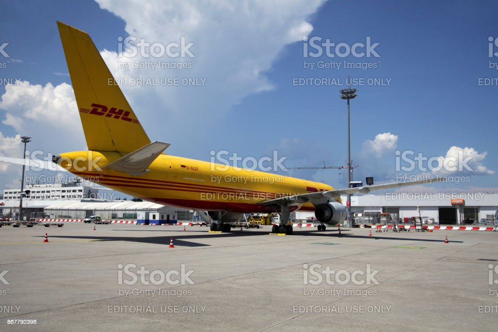 DHL Aviation airliner at Frankfurt Airport stock photo
