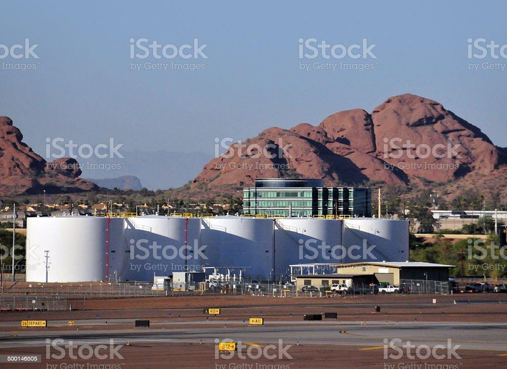 Aviation fuel tanks stock photo