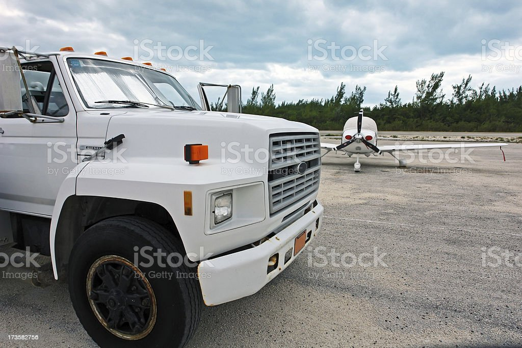 Aviation Gas Fuel Tanker at  Airport royalty-free stock photo