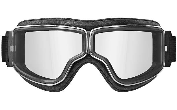 Aviation glasses with chrome inserts, front view stock photo