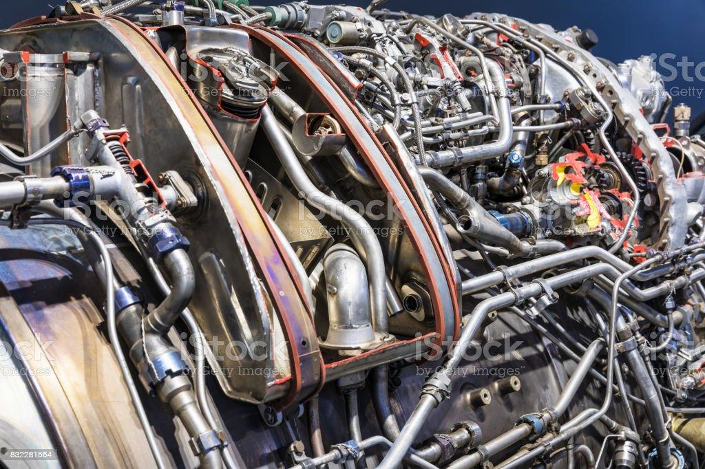 Aviation turbojet engine equipment stock photo