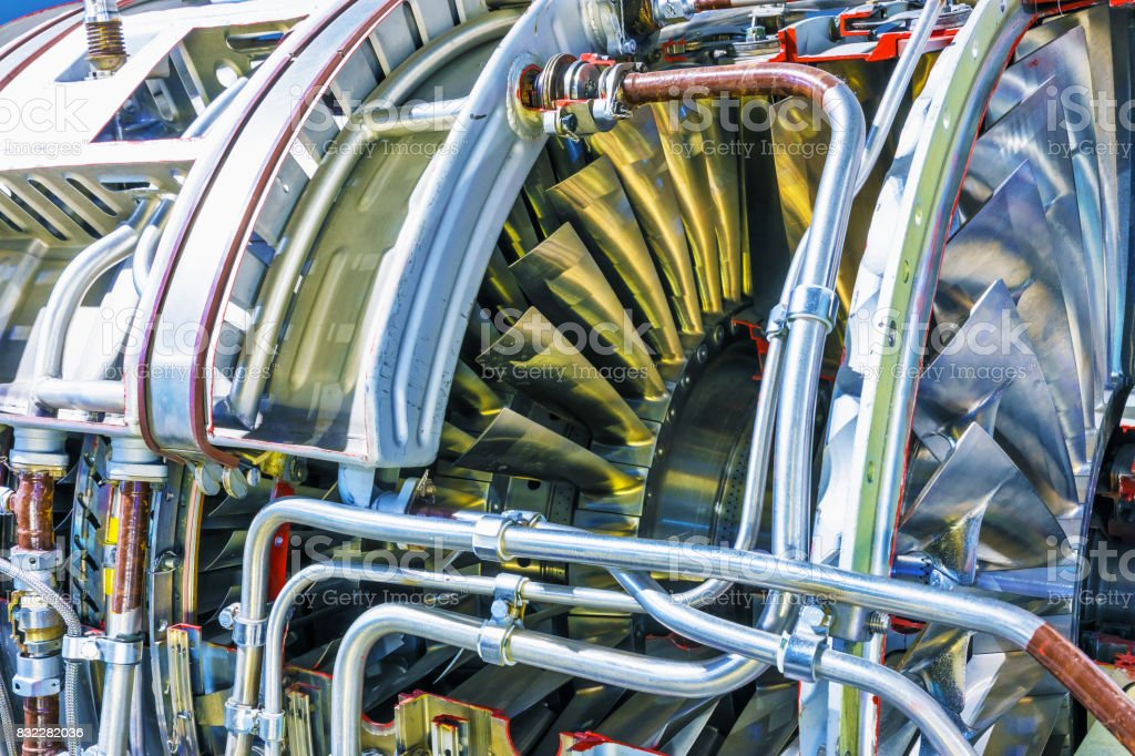 Aviation turbojet engine equipment stock photo
