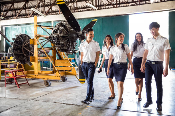Aviation University students attending to class Aviation University students attending to class in Bangkok - Thailand. flight suit stock pictures, royalty-free photos & images