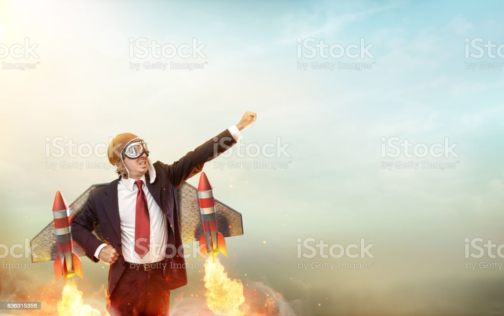 Aviator Businessman With Jetpack On His Back - Startup Concept stock photo