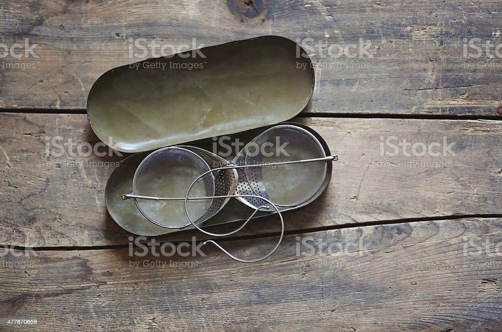 aviator glasses in case stock photo