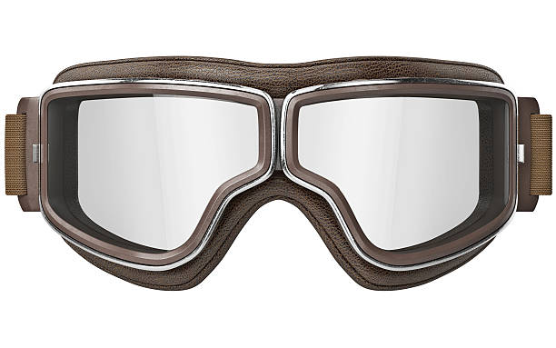 Aviator goggles in vintage style, front view stock photo