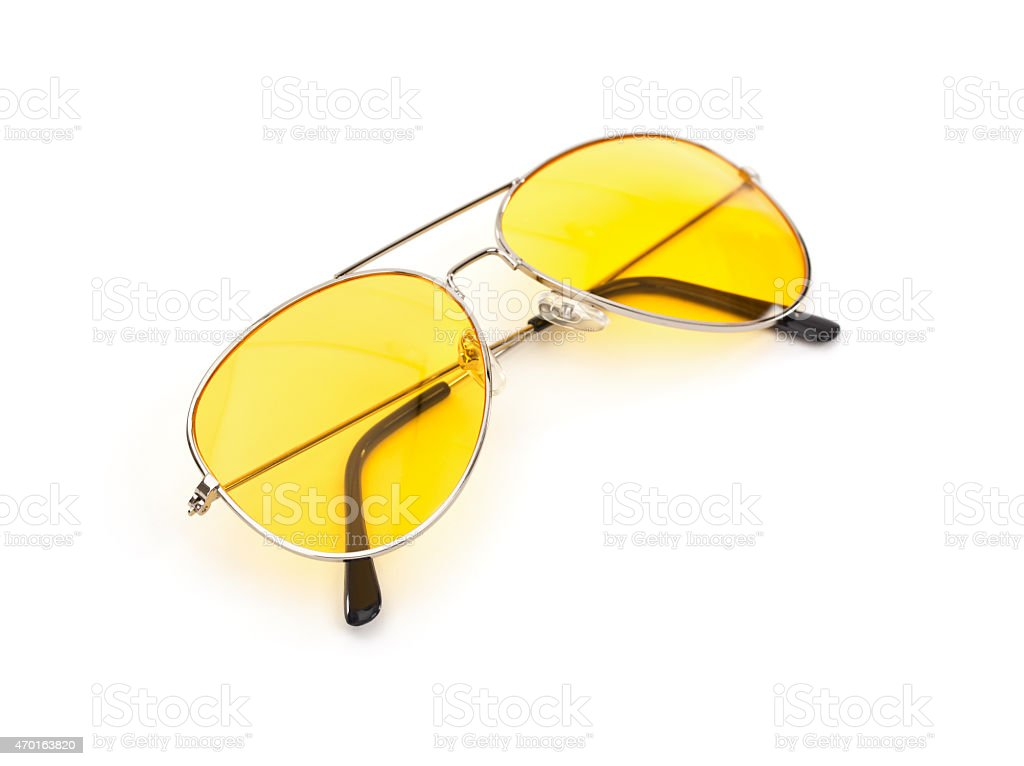 Aviator Style Sunglasses Isolated on White stock photo