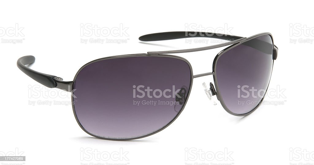 Aviator style sunglasses-isolated on white stock photo