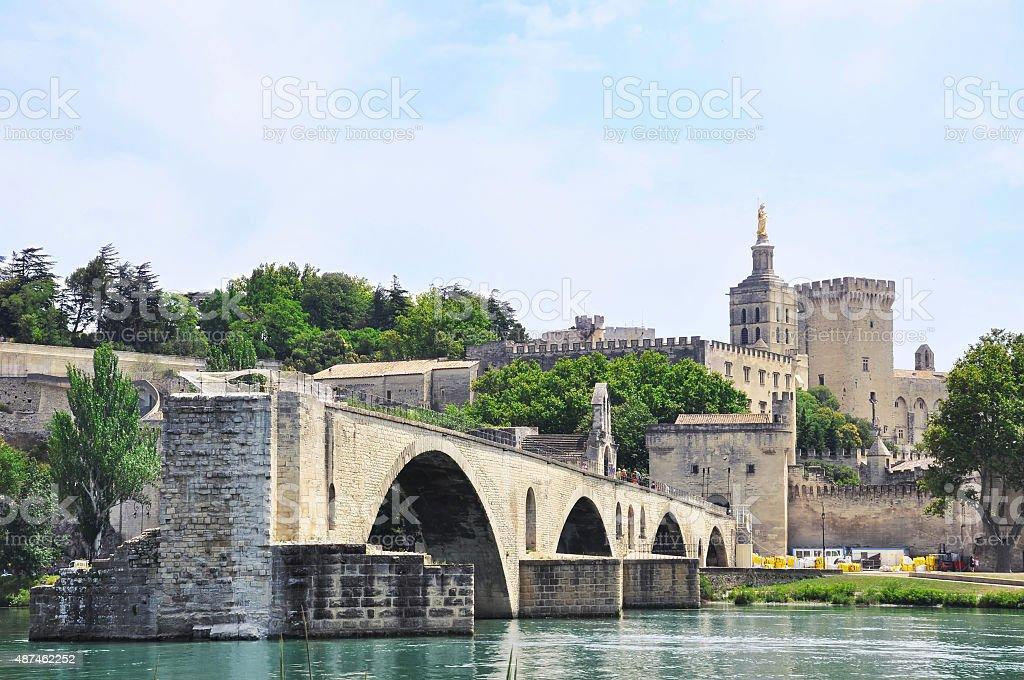 Avignon Bridge and Popes Palace stock photo