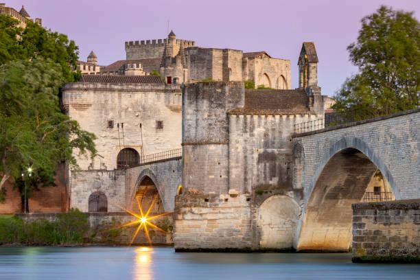 Avignon. Bridge of St. Benezet over the Rhone River. stock photo