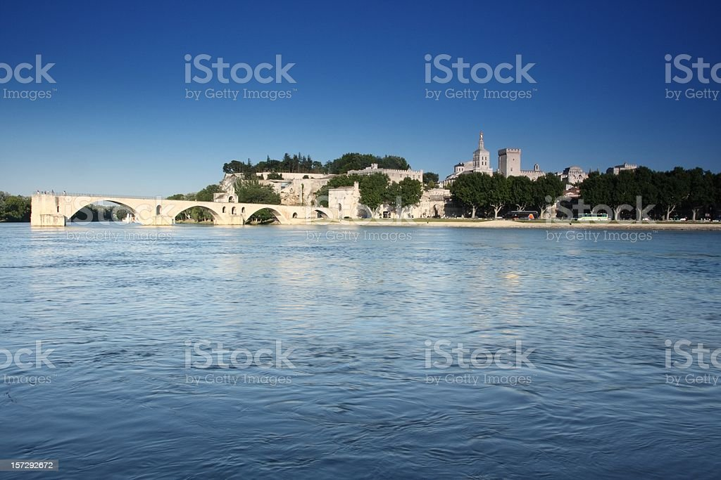 Avignon Bridge with Blue Sky Summertime royalty-free stock photo