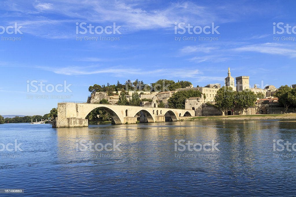 Avignon Bridge with Popes Palace, Pont Saint-Benezet, Provence stock photo