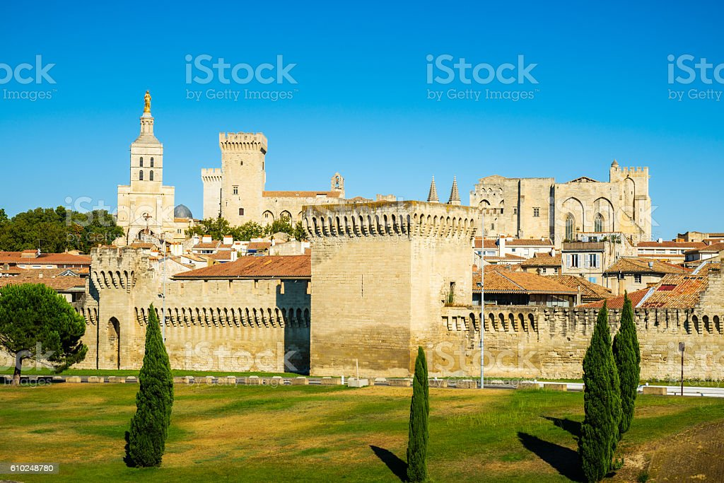 Avignon city center with city wall and cathedral stock photo