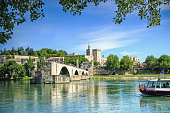 bridge of Avignon and The Popes Palace in Avignon ( city of Popes), France