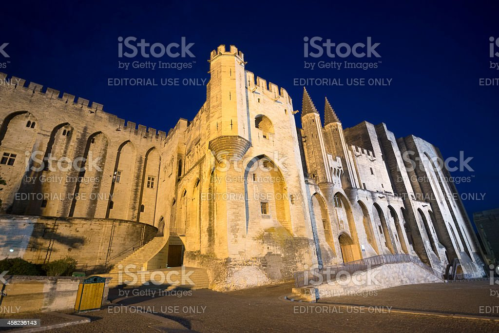 Avignon, Palais des Papes by night stock photo