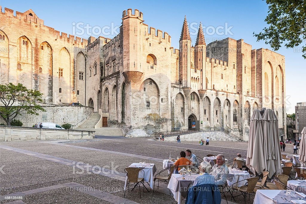 Avignon pope palace, France. stock photo