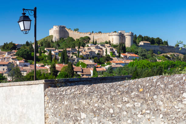 Avignon. The ancient wall of the abbey of St. Andrew. stock photo