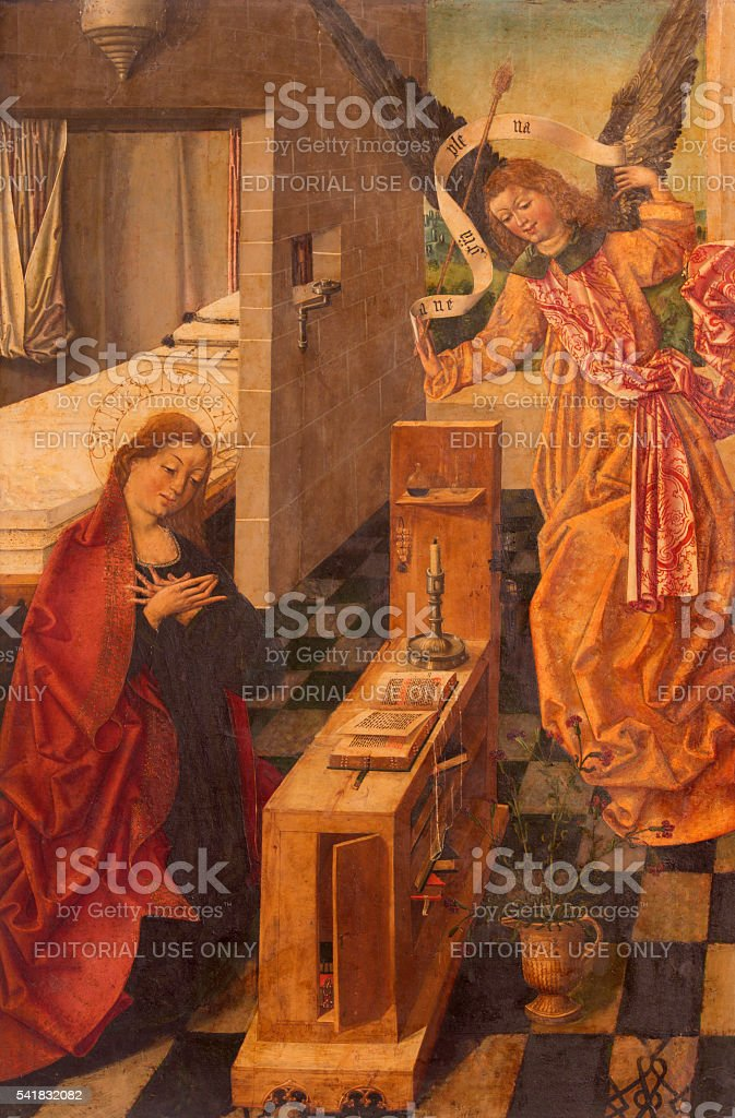Avila - Annunciation paint  (1496) in Catedral stock photo