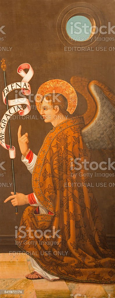 Avila - Archangel Gabriel panting (Annunciation) stock photo