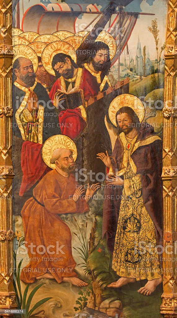 Avila - Mission of St. Paul by apostles painting stock photo