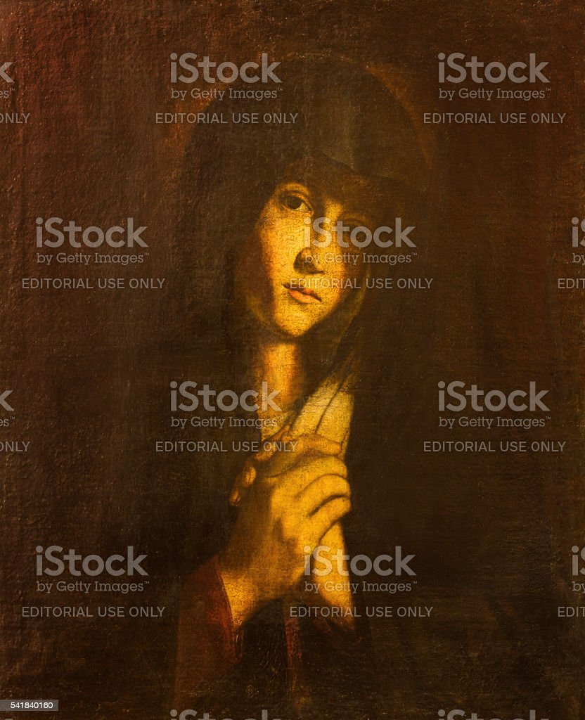 Avila - The Lady of Sorrow painting in  Catedral stock photo