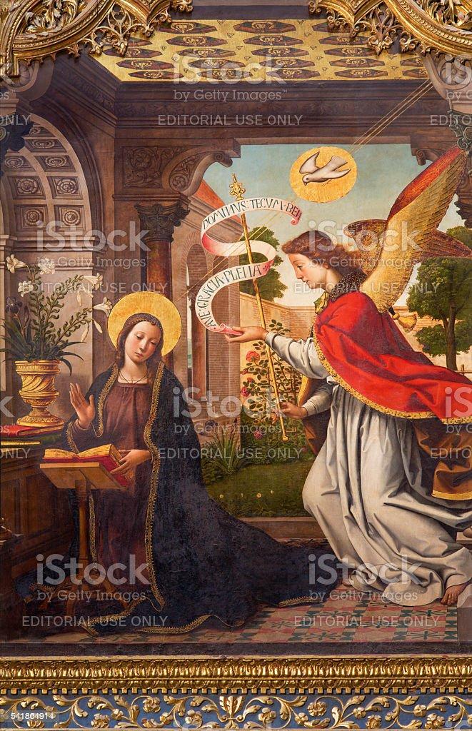 Avila - The paintig of The Annunciation stock photo