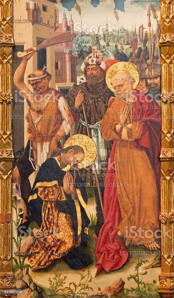 Avilla - The painting of Decapitation of St. Paul stock photo