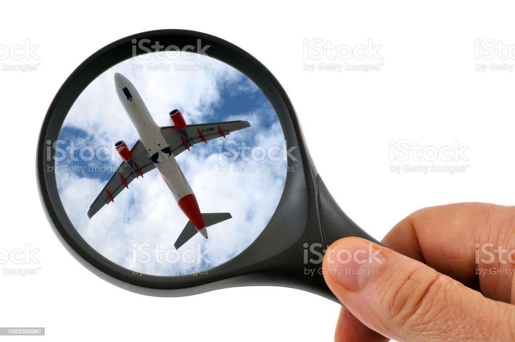 Avion à la loupe stock photo