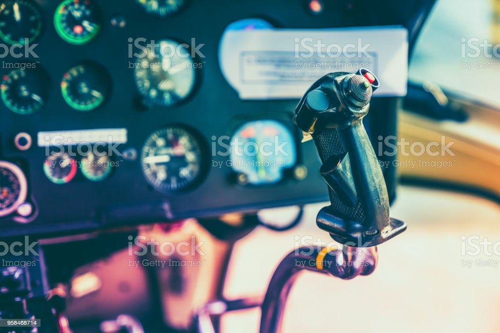 Avionics instrumentation panel on helicopter board stock photo