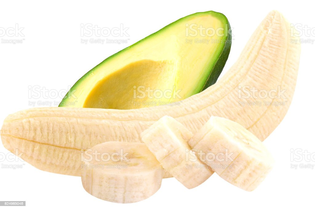 Avocado and banana isolated on white - foto stock