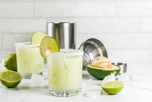 avocado and lime margarita - margarita drink stock photos and pictures