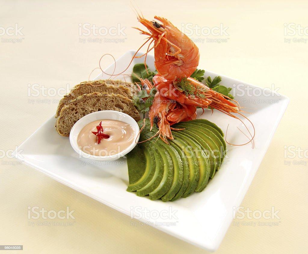 Avocado And Shrimp royalty-free stock photo