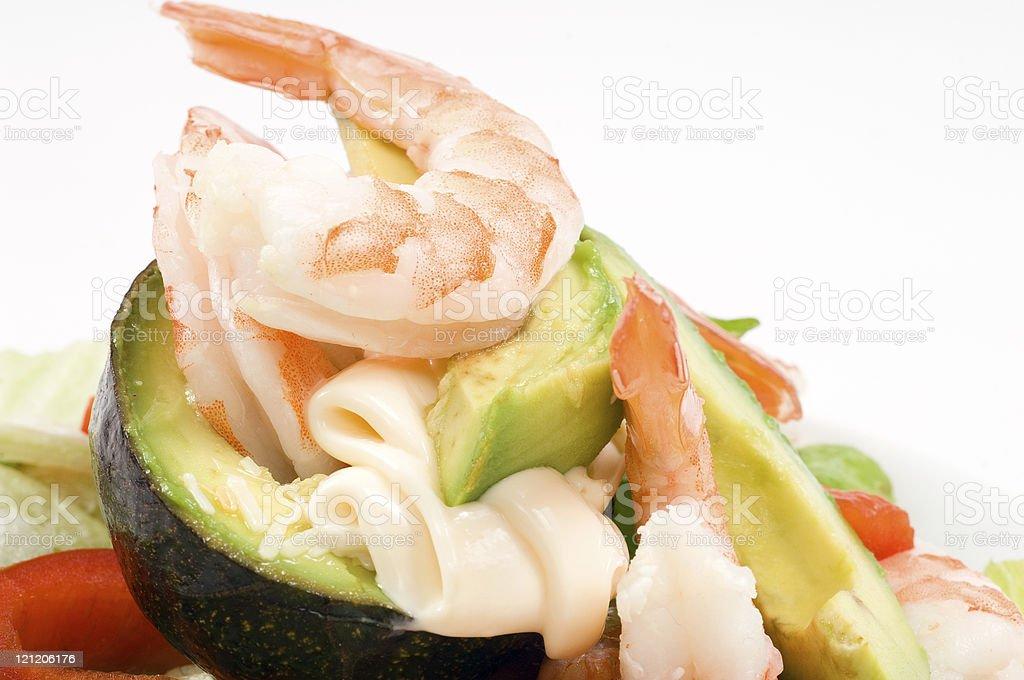 Avocado and shrimps royalty-free stock photo