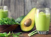 Avocado and Spinach Smoothie, Made with Fresh Avocados, Spinach and Non Dairy Milk.