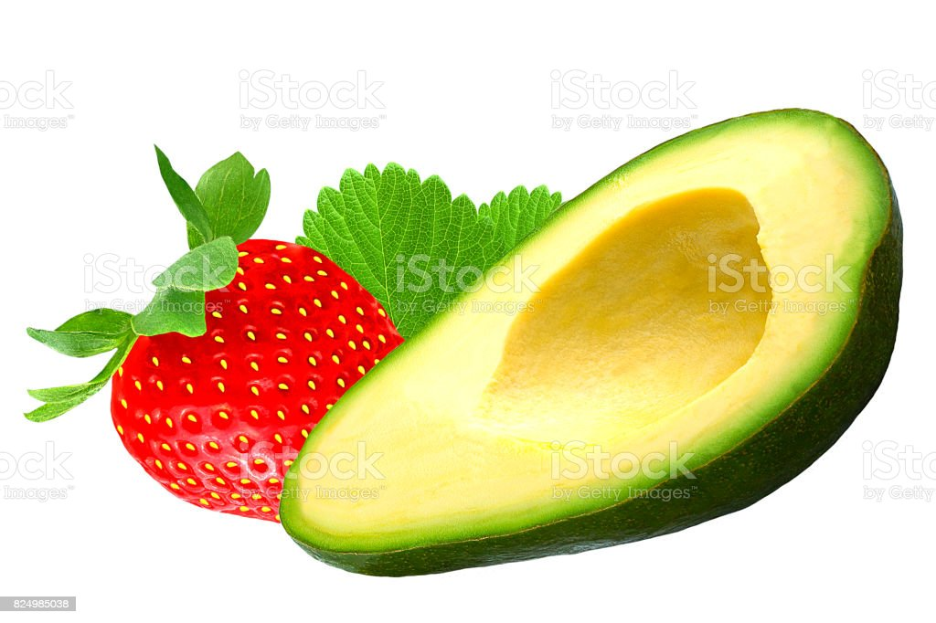 Avocado and strawbarry isolated on white - foto stock
