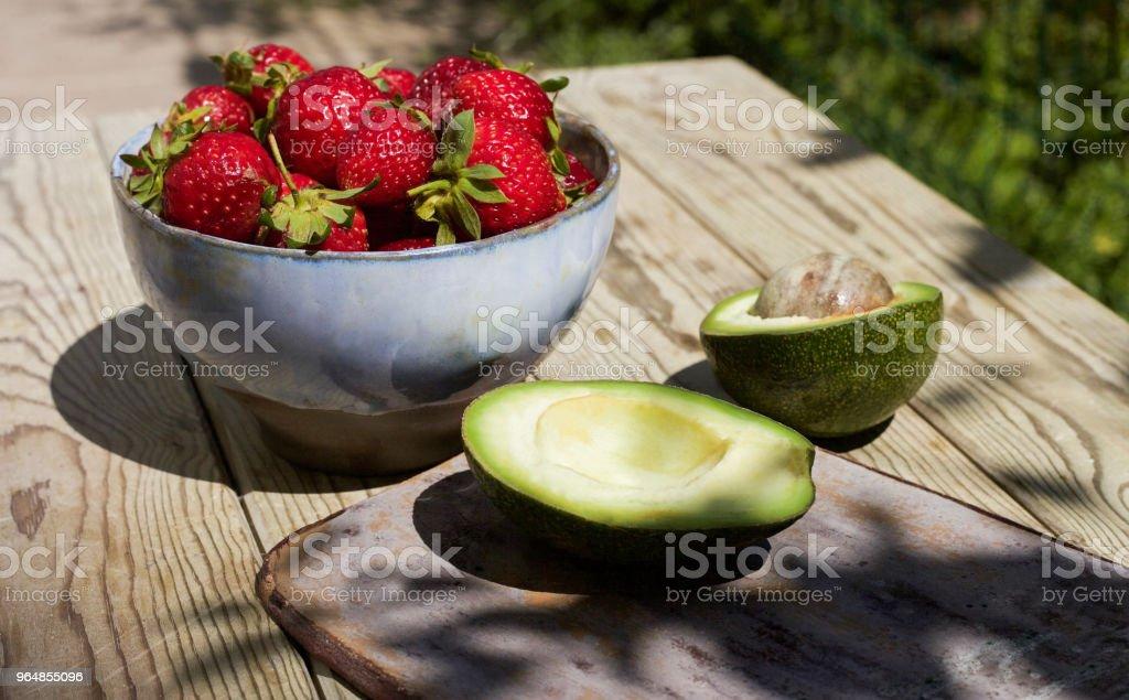 Avocado And Strawberries royalty-free stock photo