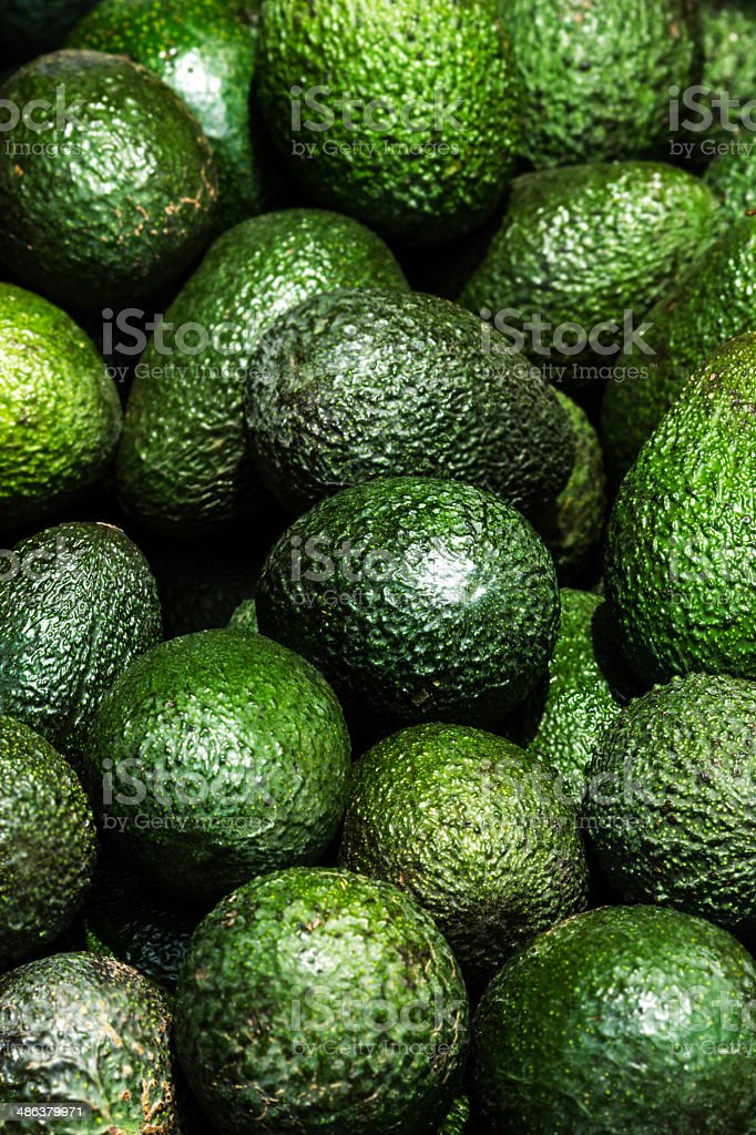 Avocado background. Fresh green fruit  on a market stail. stock photo