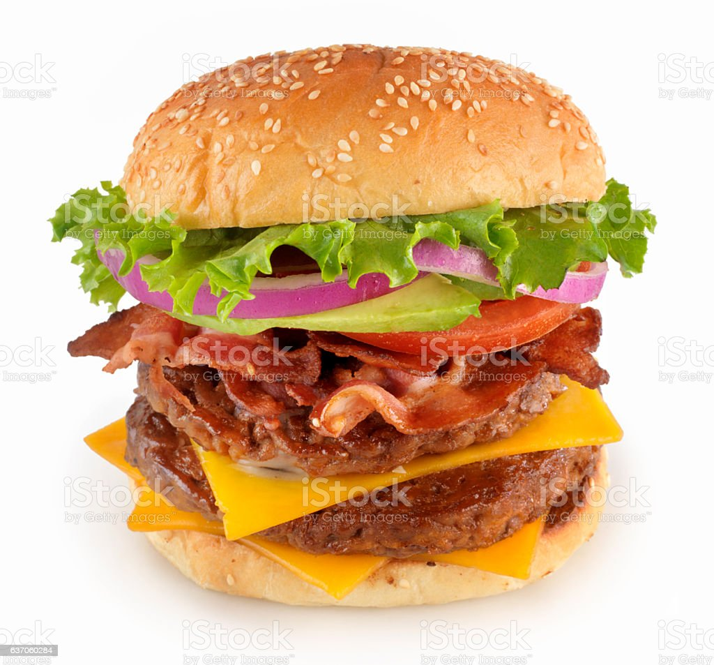 Avocado, Bacon Double Cheeseburger stock photo