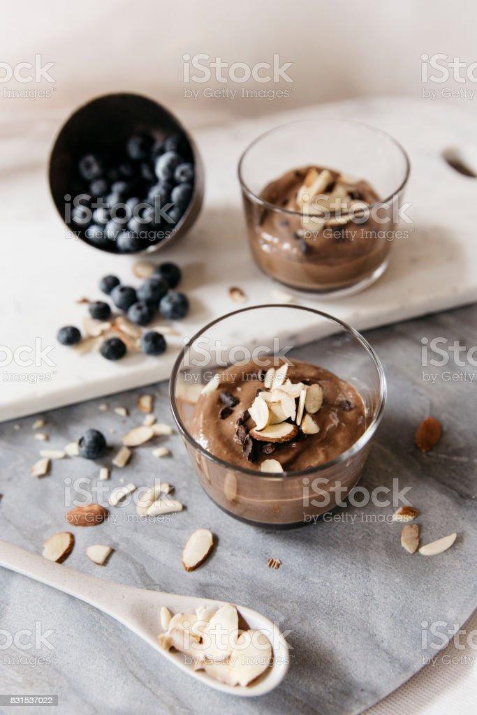 Avocado Cacao mousse stock photo