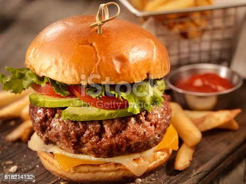 Avocado Cheeseburger with a Basket of Fries-Photographed on Hasselblad H3D2-39mb Camera