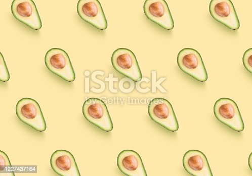 istock Avocado colorful pattern on a pastel yellow background 1227437164