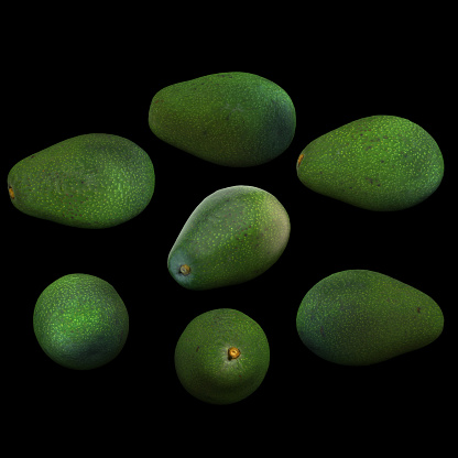 istock Avocado fruit  full black background multiple angles 3d render 1149722443