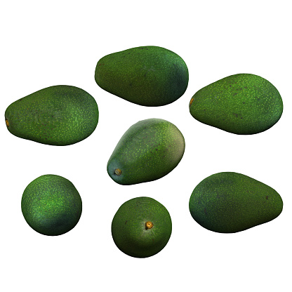 istock Avocado fruit full white background multiple angles 3d render 1149722446