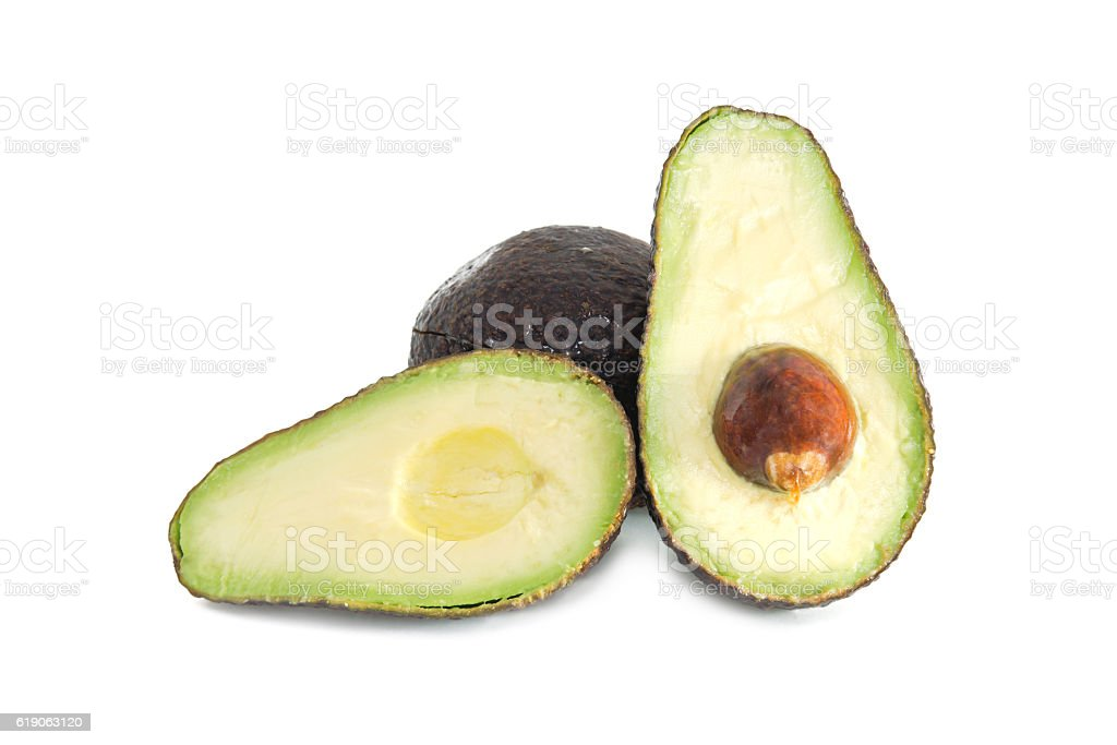 Avocado fruit isolated on white background stock photo