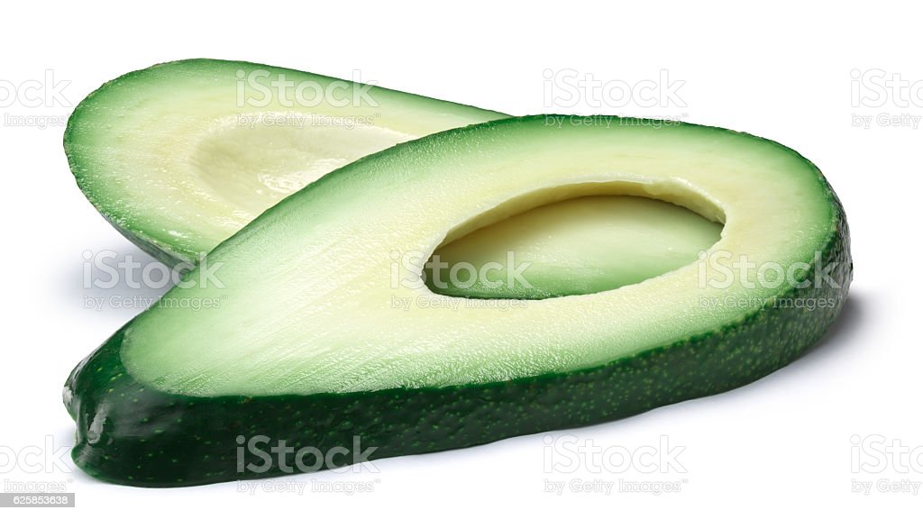 Avocado fuerte slices (Persea americana), paths stock photo