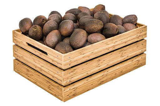 istock Avocado in the wooden crate, 3D rendering isolated on white background 1182100994