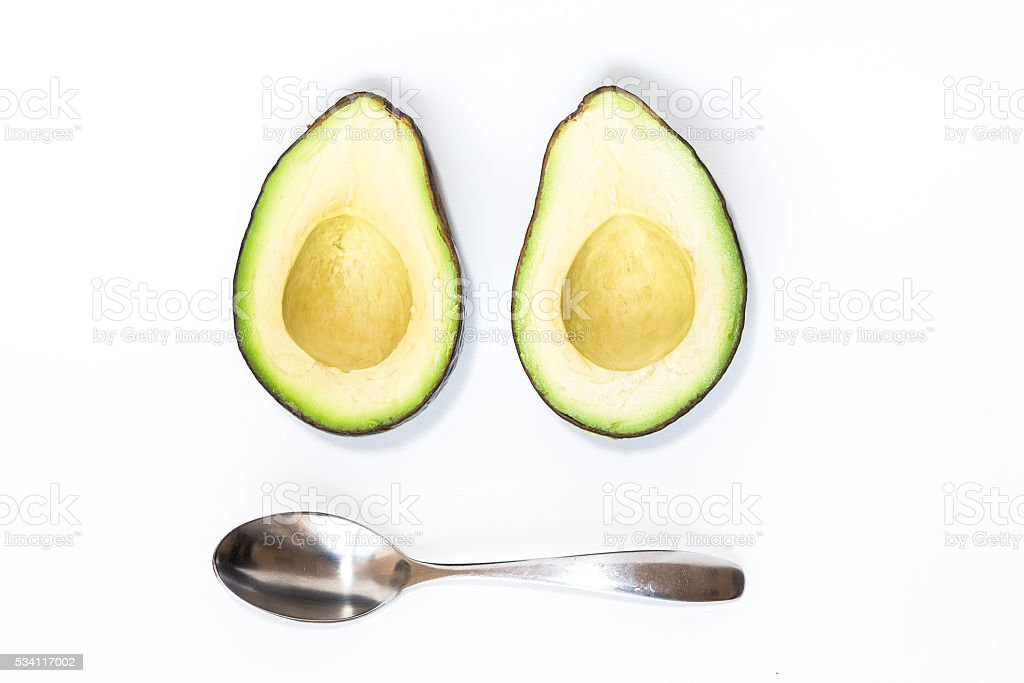 Avocado isoalted on white background stock photo