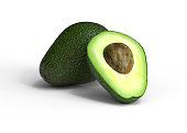 avocado, isolated, on white, 3d, rendering