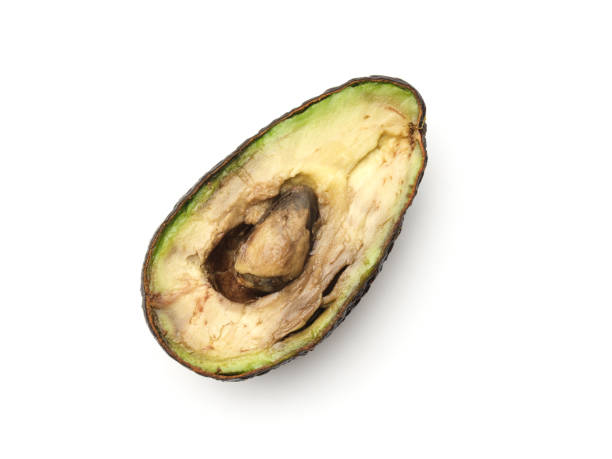 Avocado isolated on white background. Top view stock photo