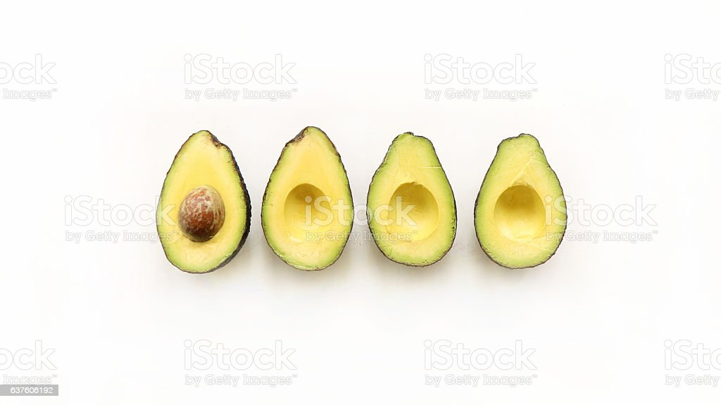 Avocado on white background stock photo